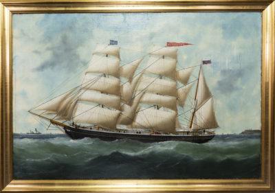 Portrait d'un trois-mâts toutes voiles dehors par Marie-Edouard Adam (père)