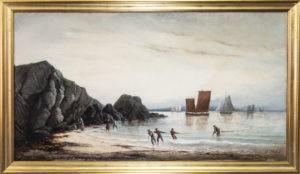 Scène de pêche à la crevette par Charles Leduc